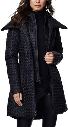 Dawn Levy Gwen Circle-Quilt Double-Layer Coat w/ Hood