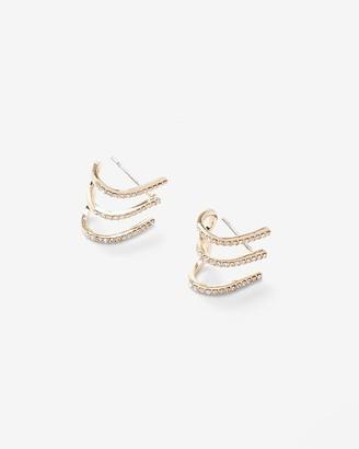 Express Three Row Rhinestone Cuff Earrings