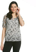 Amy Byer Short Sleeve Keyhole Floral Printed Knit Top