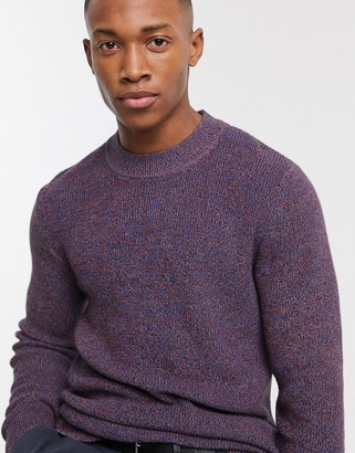 Selected organic cotton multi yarn crew neck knitted jumper in purple