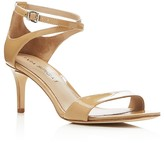 Via Spiga Leesa Patent Leather Ankle Strap Mid Heel Sandals