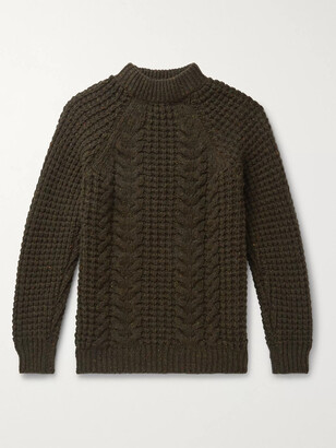 Kingsman Cable-Knit Wool and Cashmere-Blend Sweater - Men - Green