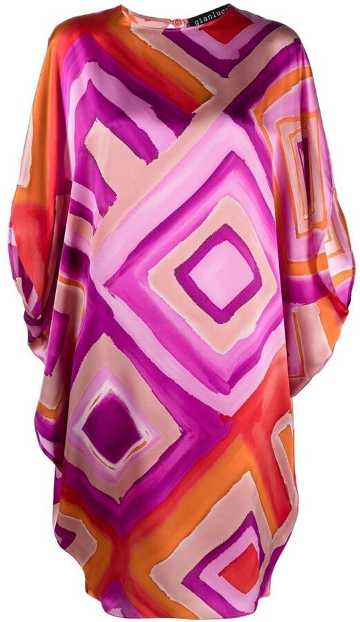 purple geometric print dress  xss