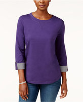 Karen Scott Tab-Sleeve Sweatshirt, Only at Macy's