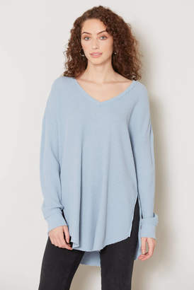 Z Supply The Waffle Thermal Tunic Top Blue XS