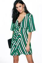 Boohoo Liliane Stripped Tie Front 1/2 Sleeve Dress