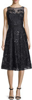 Rickie Freeman For Teri Jon Sleeveless Lace Belted Flared Dress