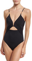 Nanette Lepore Origami Pleats Goddess One-Piece Swimsuit, Black