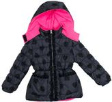 Pink Platinum Black Heart Puffer Jacket - Infant Toddler & Girls