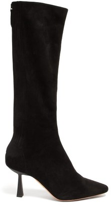 Aquazzura Curzon 75 Knee-high Suede Boots - Womens - Black