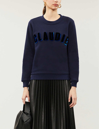 Claudie Pierlot Logo-flocked cotton-blend jersey sweatshirt