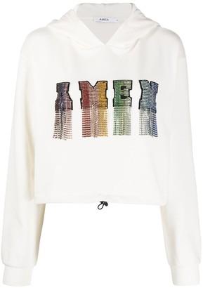Amen Crystal-Embellished Cropped Hoodie