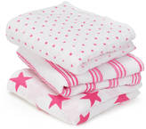 Nubie Modern Kids Boutique Bright Fluro Pink Pack Of Three Muslin Squares