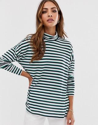 Vero Moda stripe high neck long sleeve top-White