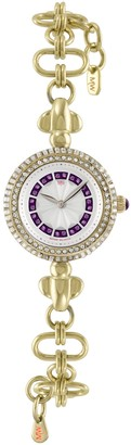 Matthew Williamson Women's Quartz White Dial Analogue Display and Gold Plated Stainless Steel Bracelet LBM35005/06