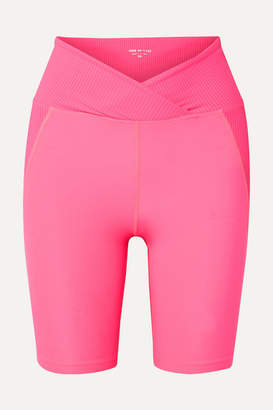YEAR OF OURS Studio Biker Paneled Stretch Shorts - Bright pink