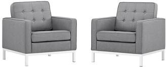 Modway Loft Armchairs Upholstered Fabric Set