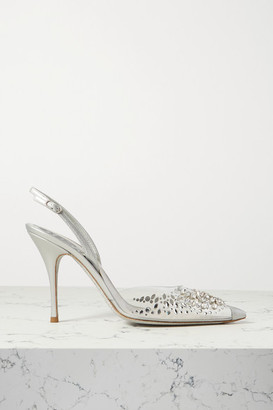 Rene Caovilla Claire Crystal-embellished Metallic Leather And Pvc Slingback Pumps - Silver