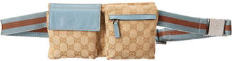 Gucci Gold Gg Canvas & Blue Leather Waist Pouch