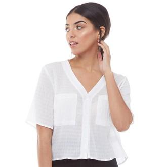 Fluid Womens Textured Boyfriend Shirt White