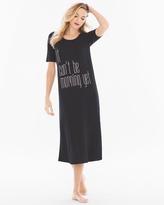 Soma Intimates Short Sleeve Long Sleepshirt Can't Be Morning Black