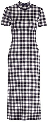 STAUD Heli Gingham Short-Sleeve Dress