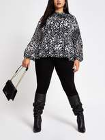 Ri Plus Printed Long Sleeve Blouse- Black/white