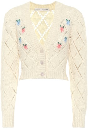 Alessandra Rich Embroidered alpaca-blend cardigan