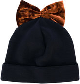 Federica Moretti bow embroidered beanie hat - women - Polyester/Spandex/Elastane/Virgin Wool - One Size