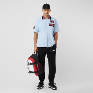 Burberry Short-sleeve Logo Graphic Cotton Zip-front Shirt