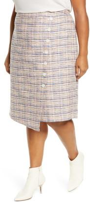 Halogen Faux Wrap Tweed Pencil Skirt