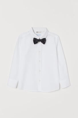H&M Shirt and Tie/Bow Tie - White