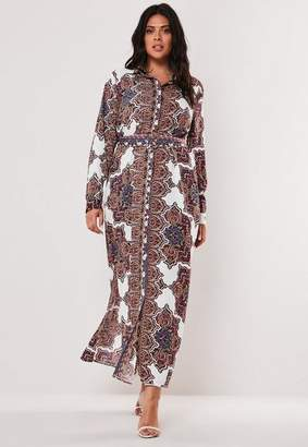 Missguided Plus Size White Paisley Print Maxi Shirt Dress
