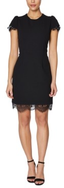 Betsey Johnson Lace-Trim Scuba Sheath Dress