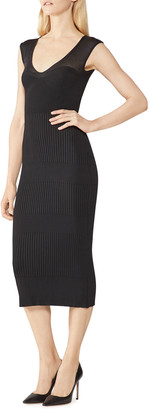 Herve Leger Sheer Rib V-Neck Midi Dress