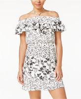 Sequin Hearts Juniors' Floral-Print Off-The-Shoulder Dress