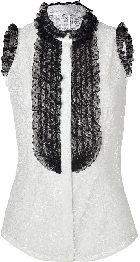 L'Wren Scott LWren Scott Cream/Black Ruffled Front Sleeveless Lace Top