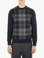 Comme Des Garcons Shirt Navy Plaid Wool Sweater