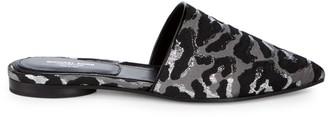 Michael Kors Darla Jacquard Leather Mules