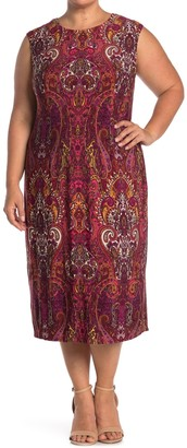 London Times Paisley Cap Sleeve Midi Dress