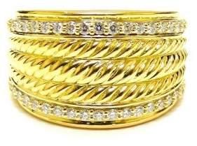 David Yurman 18K Yellow Gold Cable Signature Diamond Ring