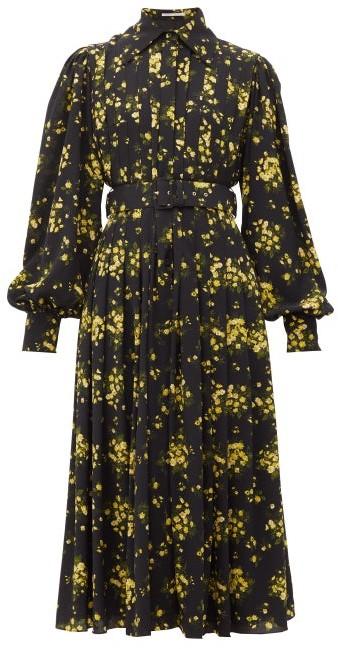 Emilia Wickstead Anatola Floral-print Crepe Midi Dress - Black Yellow