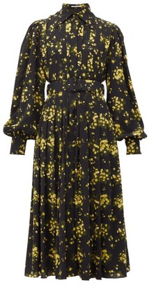Emilia Wickstead Anatola Floral-print Crepe Midi Dress - Black Yellow