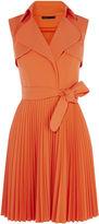 Karen Millen Pleated Trench Dress - Orange
