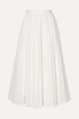 Zimmermann Suraya Lace-trimmed Swiss-dot Cotton-voile Midi Skirt - White