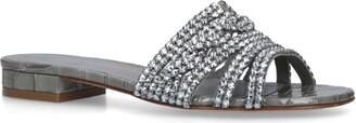 Gina Croc-Embossed Embellished Bern Mules 20