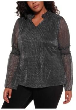 Belldini Black Label Women's Plus Size Metallic Flare Sleeve Top
