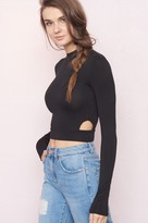 Garage Mock Neck Side Cutout Top