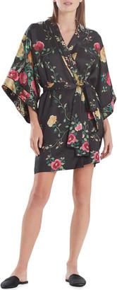 Josie Natori Miyabi Floral-Print Short Silk Robe