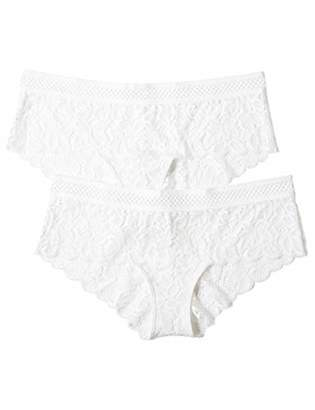 Iris & Lilly Women's Crochet Lace Hipster Brief, Pack of 2,(Manufacturer size: Small)